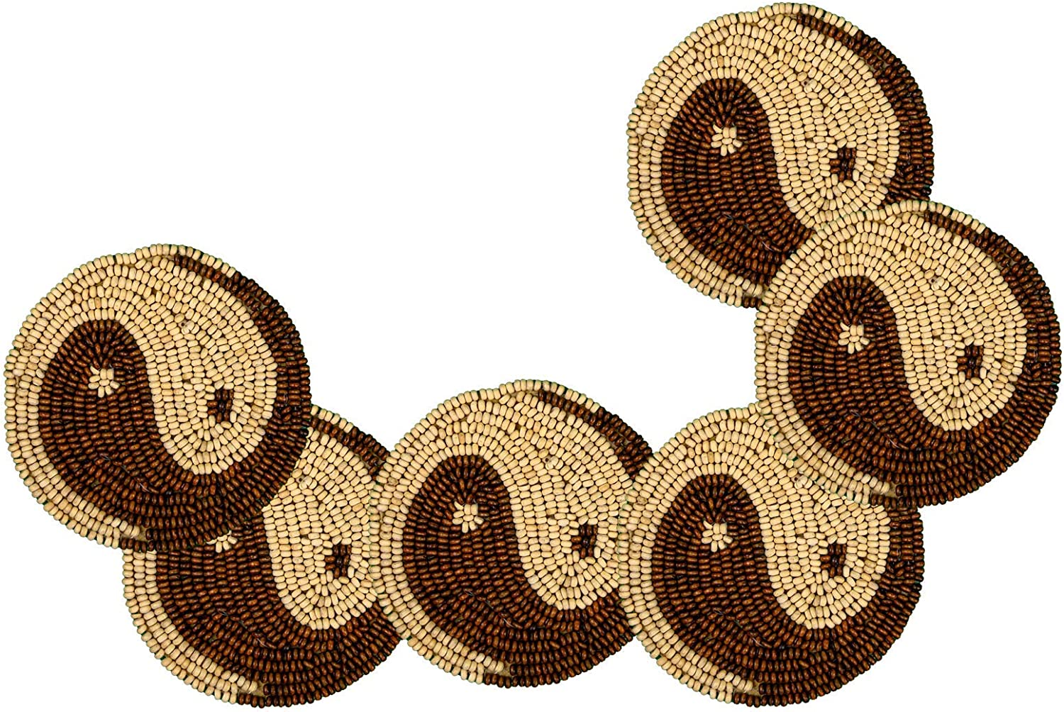 "POPULAR LIFE HOME Zen- Yin & Yang Motif Wooden Bead Embroidered Coasters | Hand Beaded Placemat with Satin Back, Decorative Dining Table Coasters, Brown & Cream, 4"" Round (Set of 6)"
