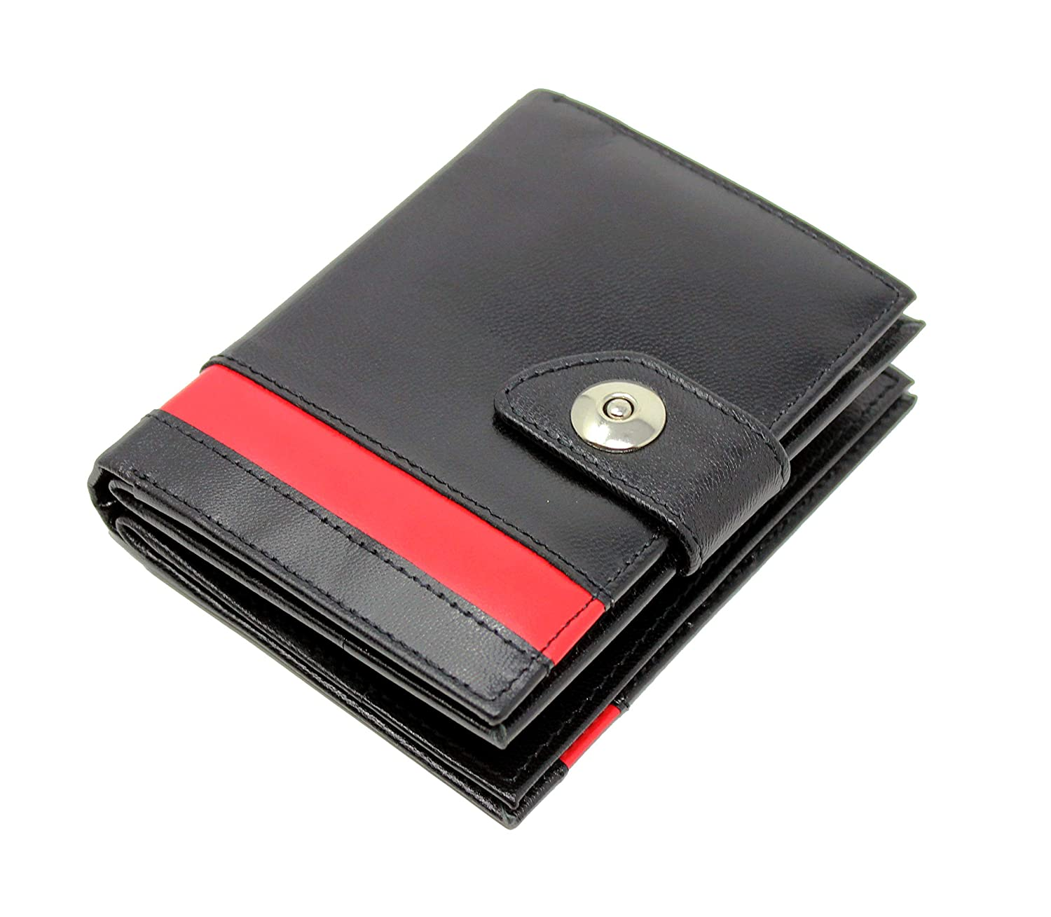 StarHide Black & Red RFID Blocking Wallet | Side Zip Around Coin Pouch Purse | Twin ID Flash Pocket | Gift Box - 630
