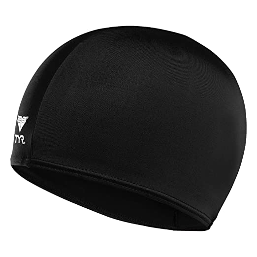 63e3a4b53e6 Amazon.com : TYR Lycra Swim Cap, Black : Clothing