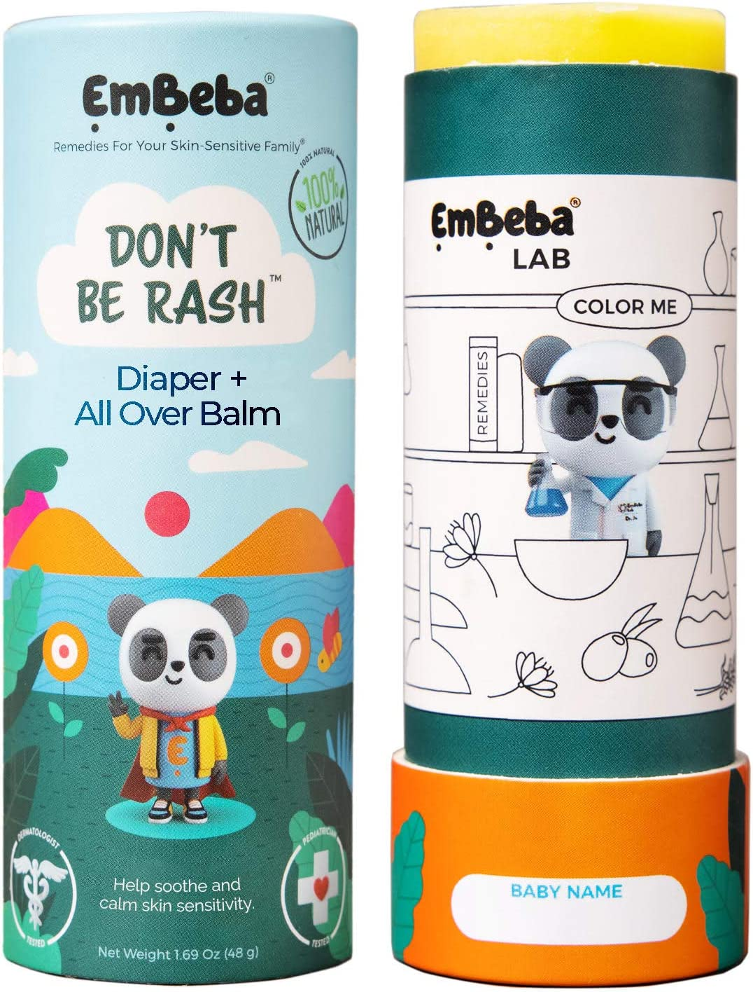 EmBeba Diaper Balm   Natural Rash Cream for Kids with Sensitive Skin   Travel Friendly with Built-in Diaper Rash Applicator   Pediatrician Tested Treatment for Newborn Bum