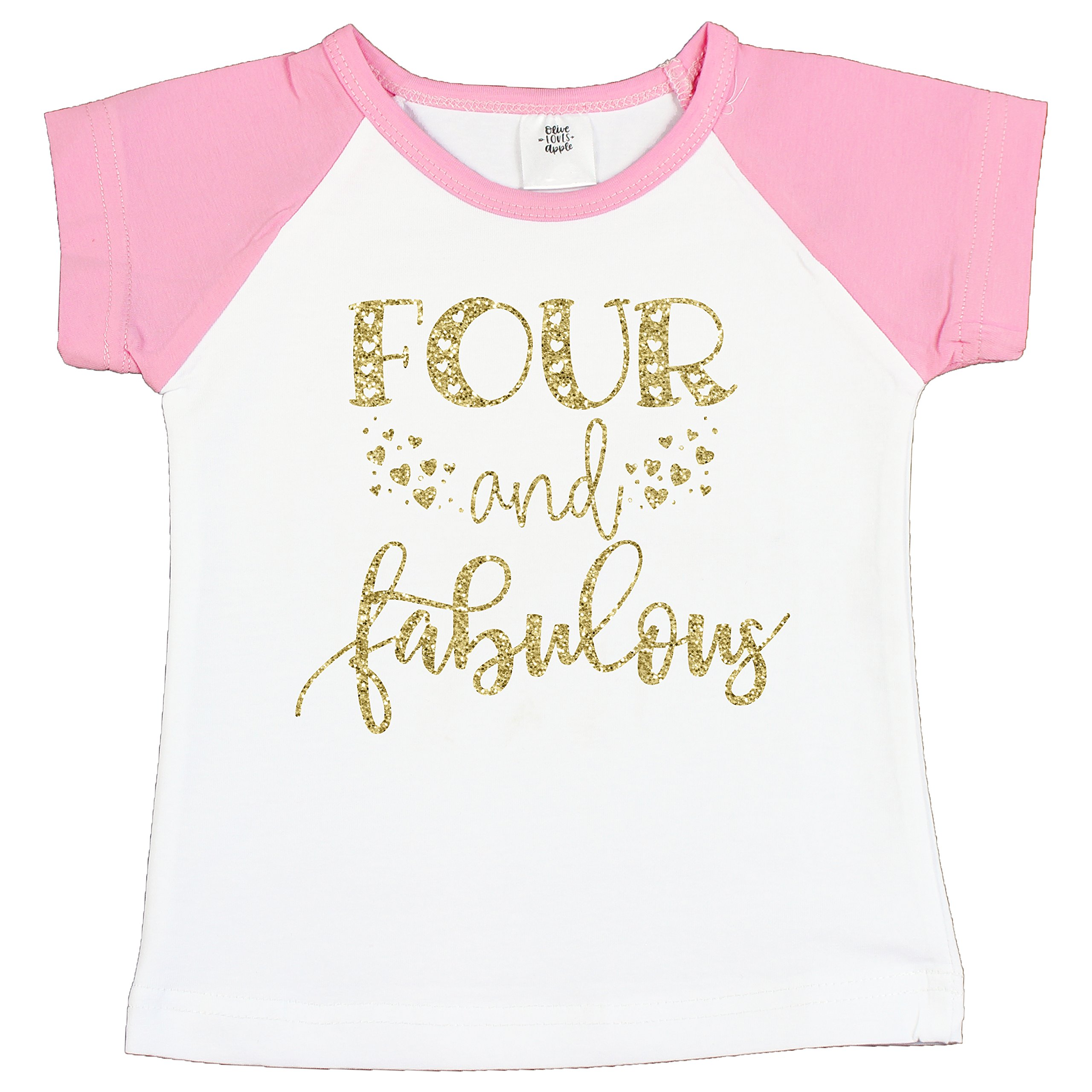 Olive Loves Apple Four and Fabulous 4th Birthday Shirt Girl Fourth Birthday Shirt for Girls Glitter Gold by Olive Loves Apple (Image #2)