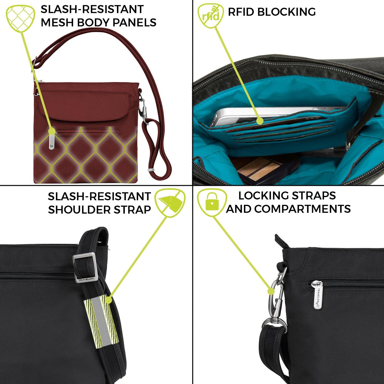Travelon Women's Anti-theft Classic Mini Shoulder Bag Sling Tote, Nutmeg by Travelon (Image #3)
