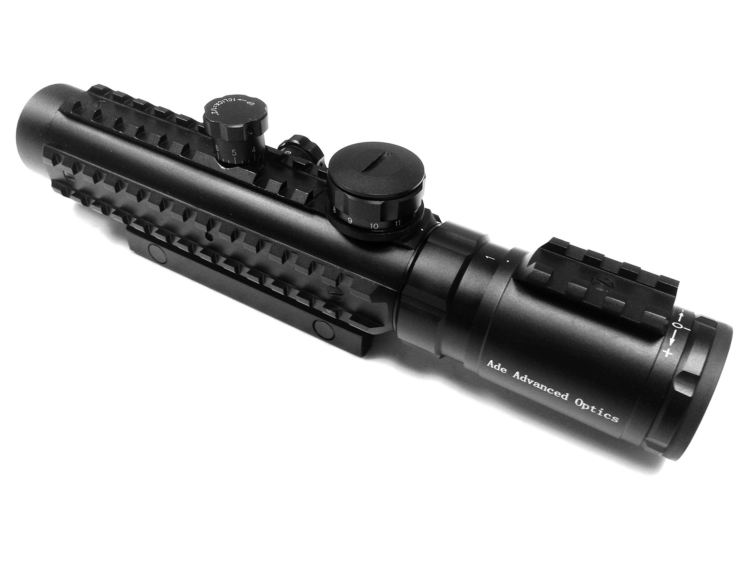 Ade Advanced Optics BE1-3X30IR Premium Illuminated Red Cross Electro Sight Riflescope, 1-3x 30mm