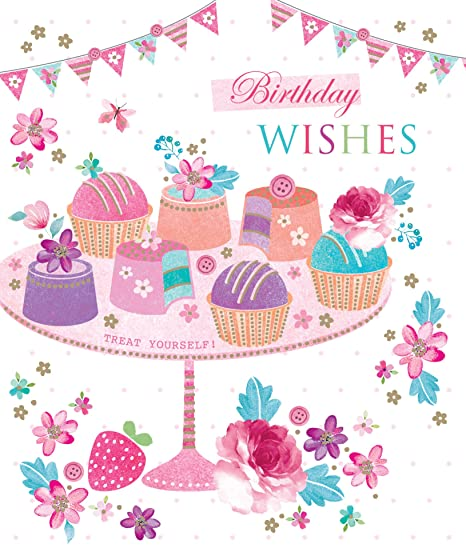 Birthday Wishes Treat Yourself Cup Cakes Bunting Design Open Happy