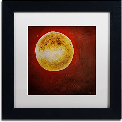 Moon On Red Art By Nicole Dietz In Black Frame Acrylic Paper 11 By 11 Inch White Matte Home Kitchen