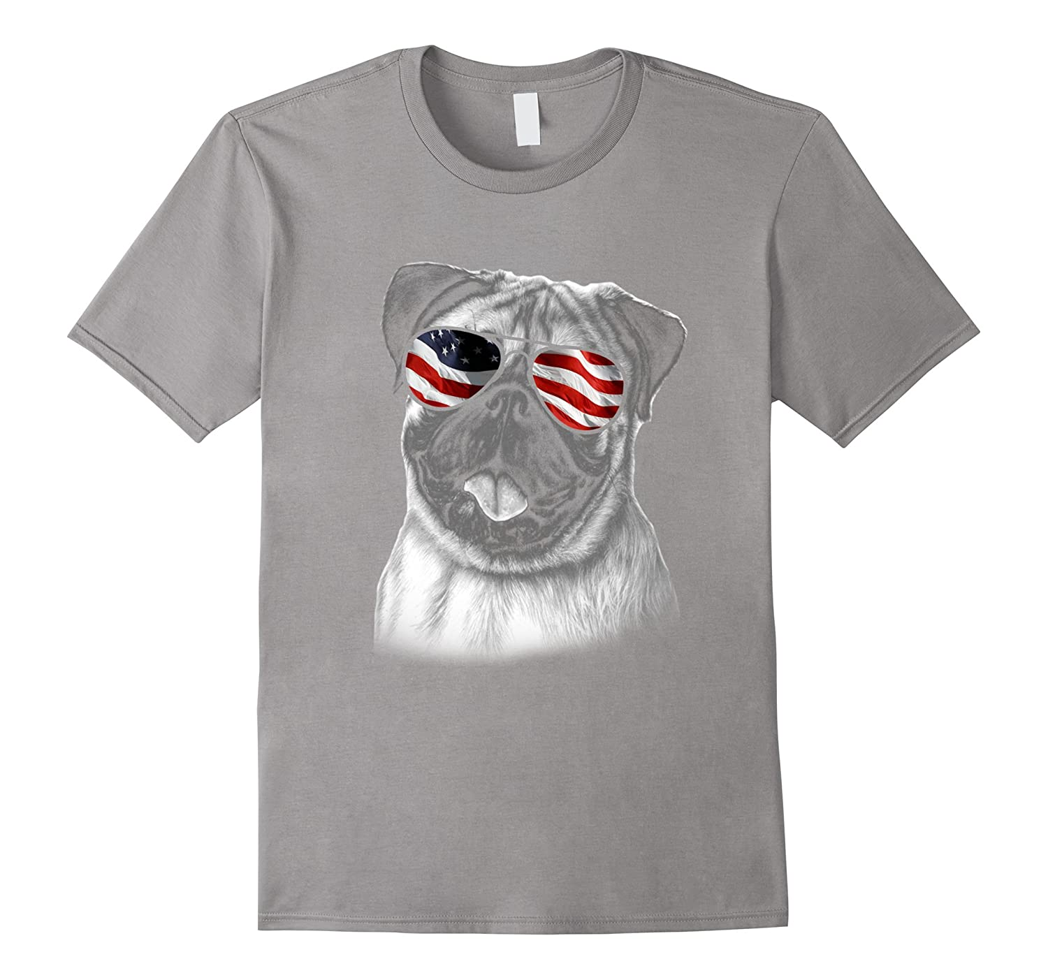Funny Pug American Flag Dog T-Shirt 4th of July Patriotic