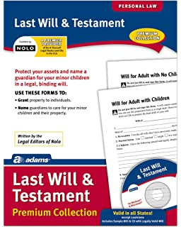 Amazon last will testament forms usa do it yourself adams last will and testament forms and instructions includes cd lf235 solutioingenieria Image collections