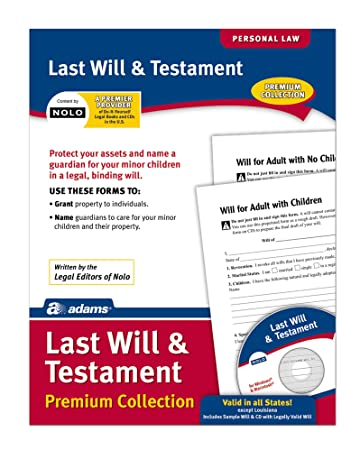AmazonCom  Adams Last Will And Testament Forms And Instructions
