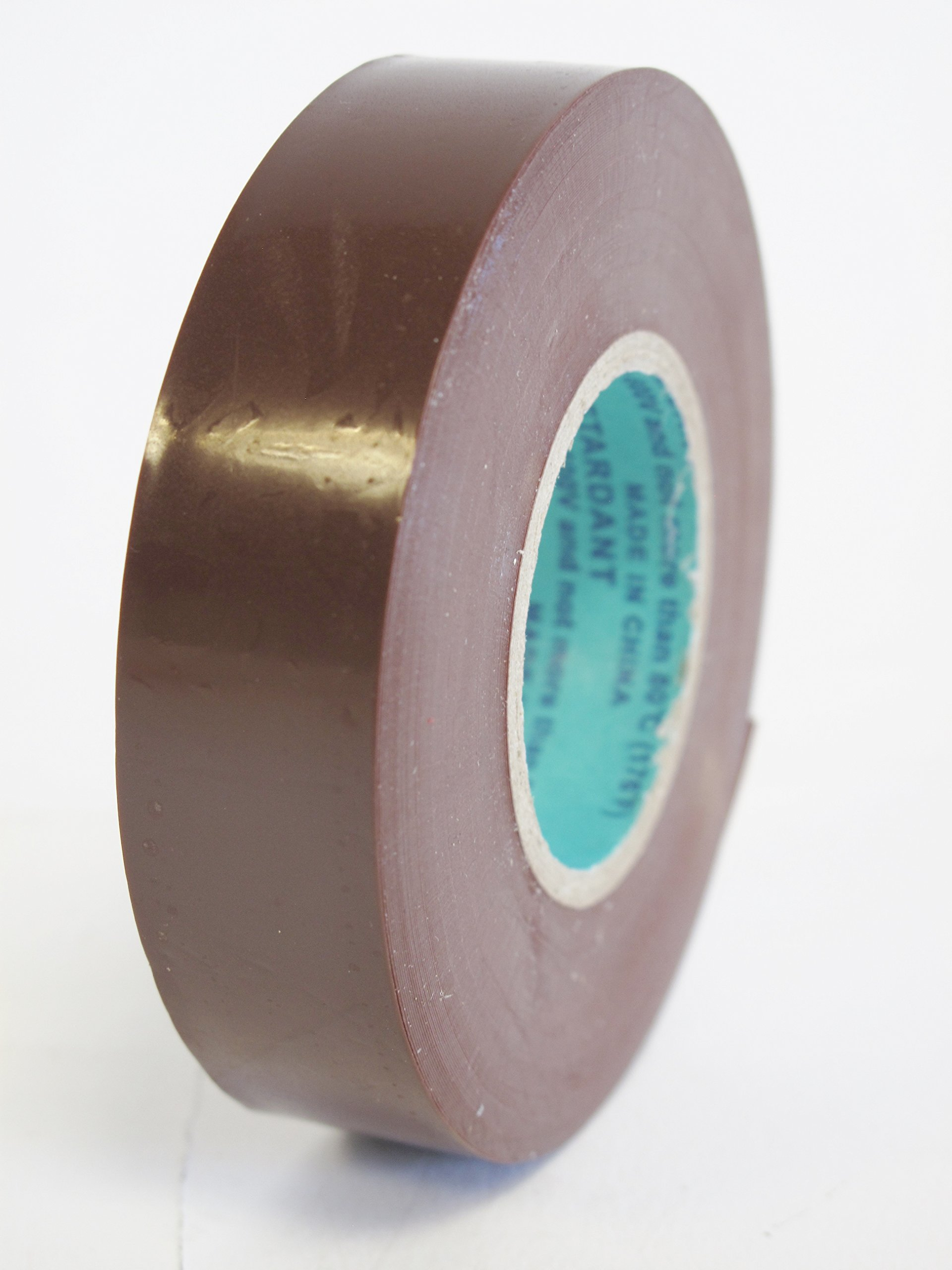 10 Rolls Professional Industrial General Purpose Electrical Tape with Moisture Tight Protection - 3/4 Inch X 66 Feet - Brown Color - 10 Rolls per Case