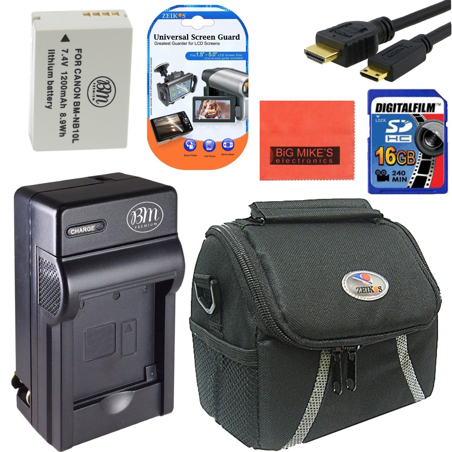 Starter Accessory Kit for Canon PowerShot G1 X, G3-X, G15, G16, SX40 HS, SX50 HS, SX60 HS Digital Camera - Includes NB10L Battery & Charger + 16GB SD Memory Card+ Deluxe Carrying Case + Mini HDMI-HDMI Cable +More!!