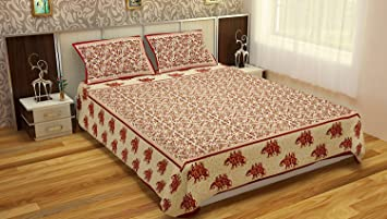 Vihaan Fab Double Bedsheet Pure Cotton Printed Bedsheet with 2 Pillow Cover