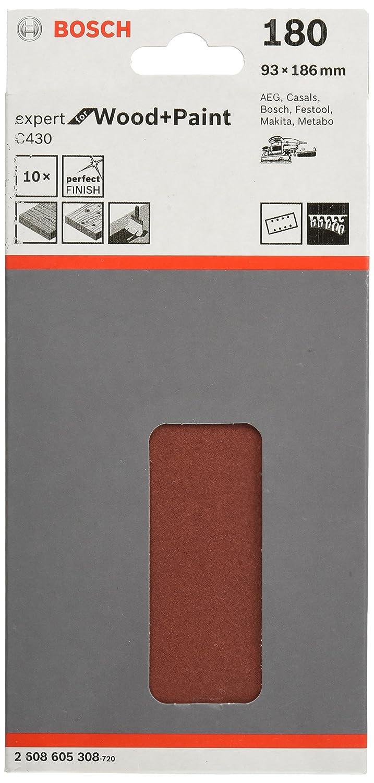 Bosch Pro Schleifblatt Expert for Wood and Paint Holz und Farbe fü r Schwingschleifer (10 Stü ck, Kö rnung 60, C430) Körnung 60 2608605303