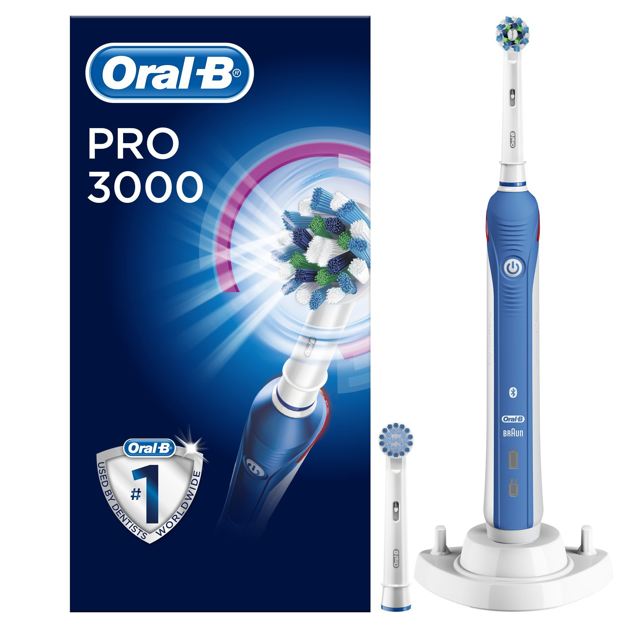 Oral-B Pro 3000 CrossAction Electric Toothbrush Rechargeable Powered by Braun