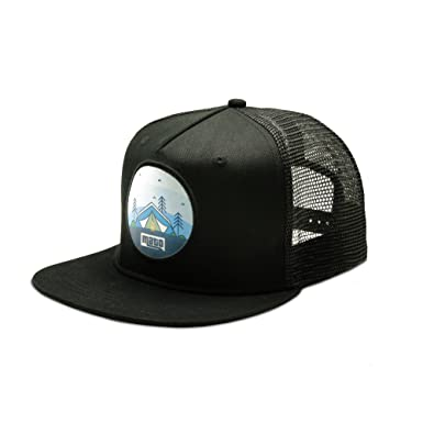 5e2901b07a8 Mato Trucker Hat Snapback Happy Camper Flat Brim Mesh Baseball Cap ...