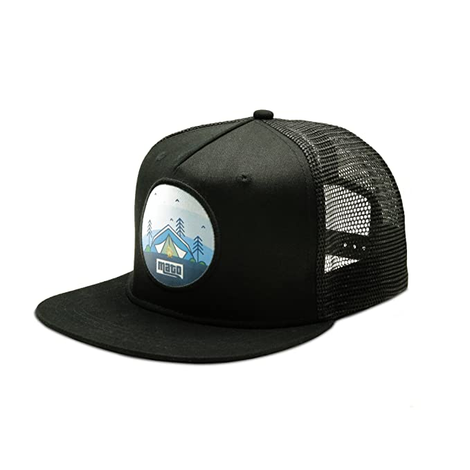 fa1798af0f1 Image Unavailable. Image not available for. Color  Mato Trucker Hat Snapback  Happy Camper Flat Brim Mesh Baseball Cap Black