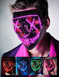 Scary Halloween Mask, LED Light up Mask Cosplay, Glowing in The Dark Mask Costume 3 Lighting Modes, Halloween Face Masks for Men Women Kids - Purple