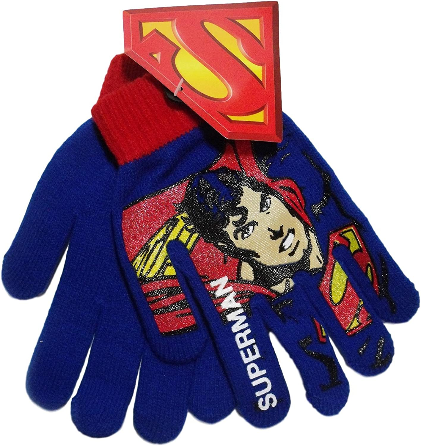 Superman Blue Red Knit Boys Winter Gloves