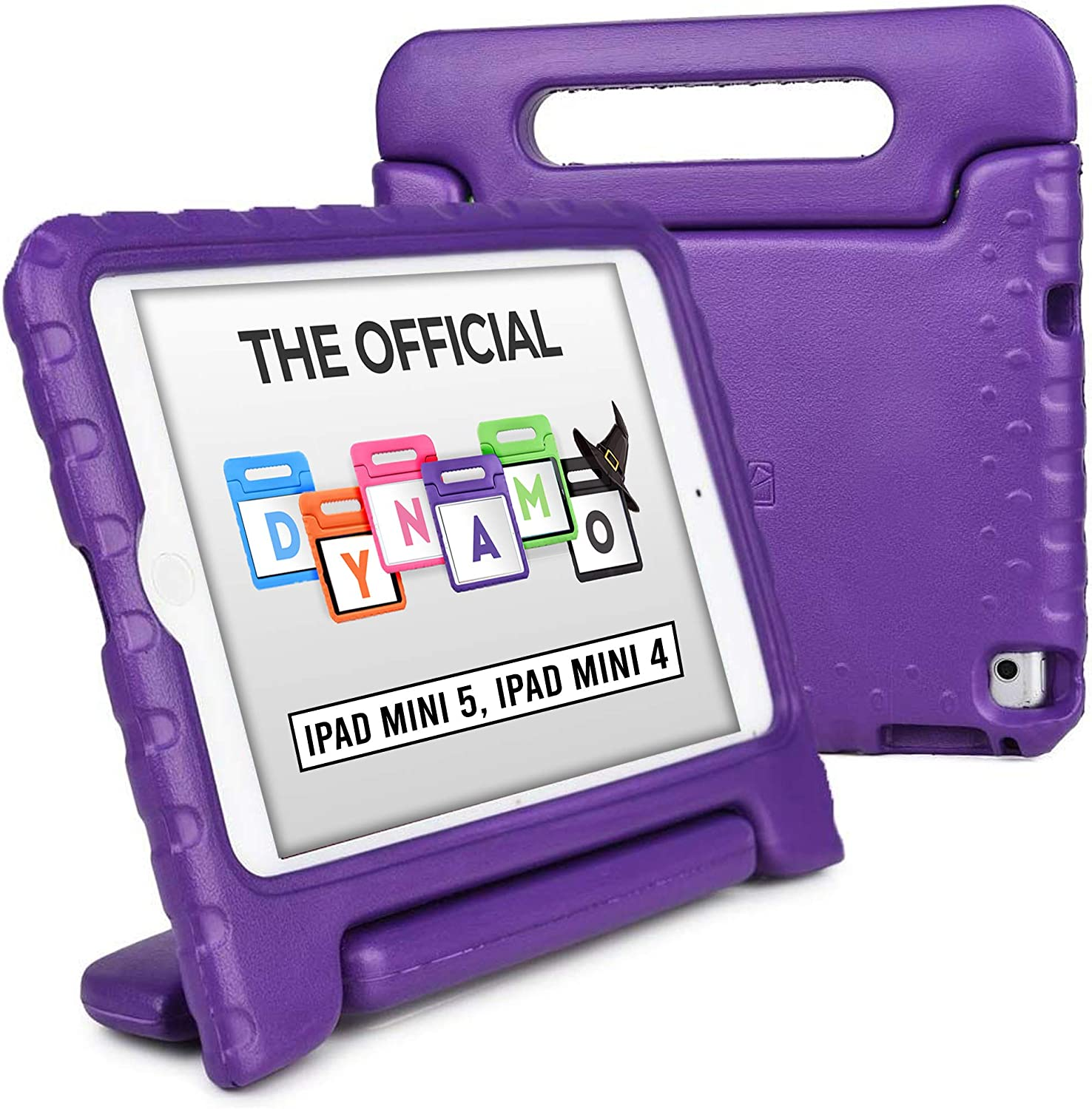Cooper Dynamo [Rugged Kids Case] Protective Case for iPad Mini 5 4 | Child Proof Cover with Stand, Large Handle, Screen Protector (Purple)