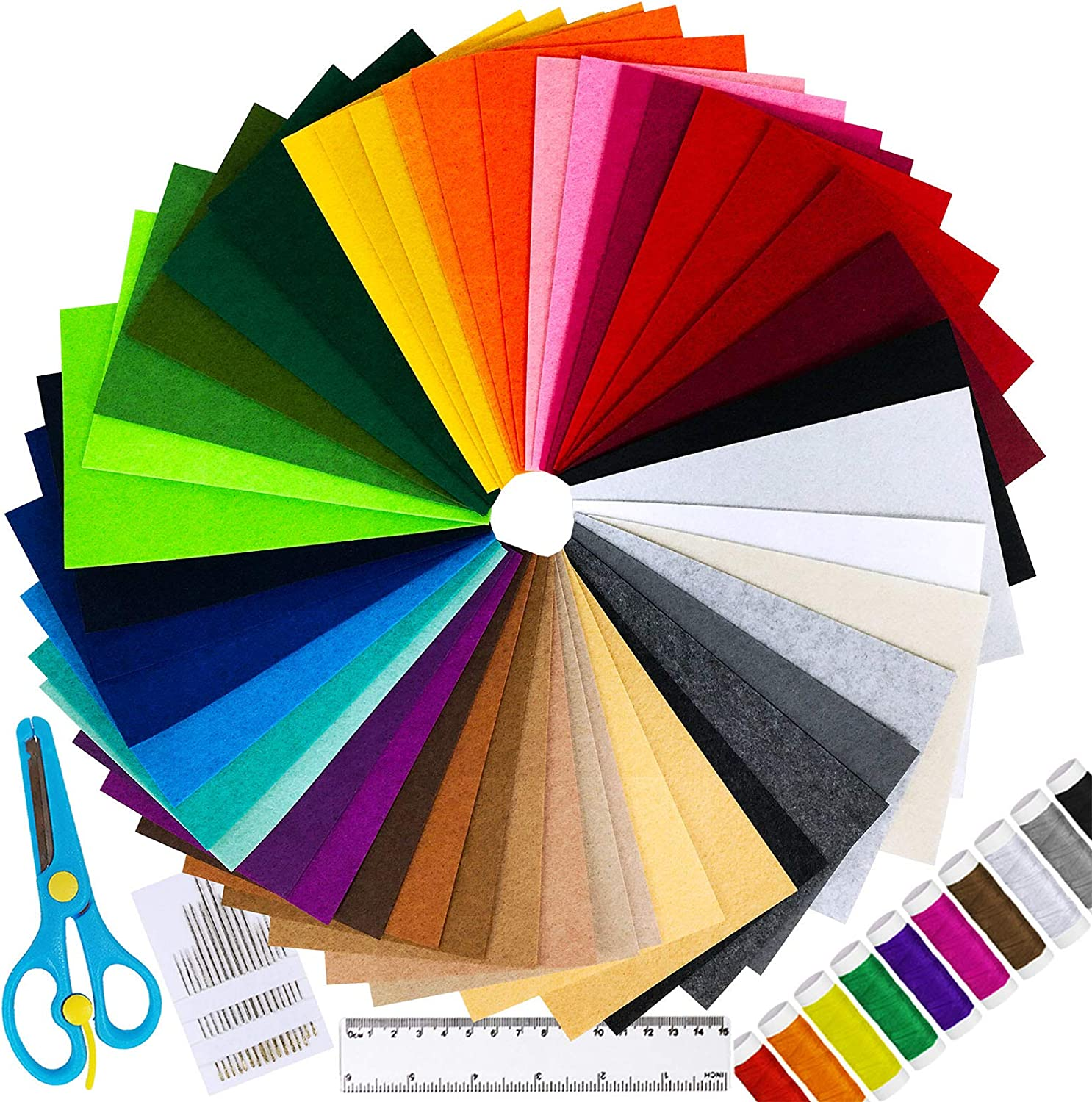 """Assorted Bright Colors Costumes 6/"""" L x 9/"""" W 18 Sheets Scouts Great for Craft Projects with Kids Classrooms 1mm Thick Per Sheet Darice Felties Stiff Felt Sheets with Sticky Backs Parties"""