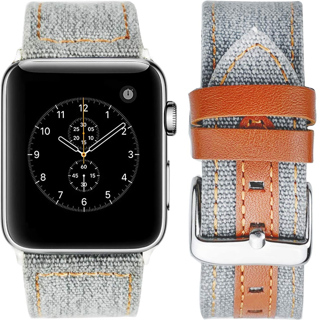 Compatible with Apple Watch 42mm/44mm 38mm/40mm Series 5 Series 4 Series 3 Straps - Jeans apple watch band - Classic Canvas Fabric Genuine Leather Wristbands (gray, 42/44mm)