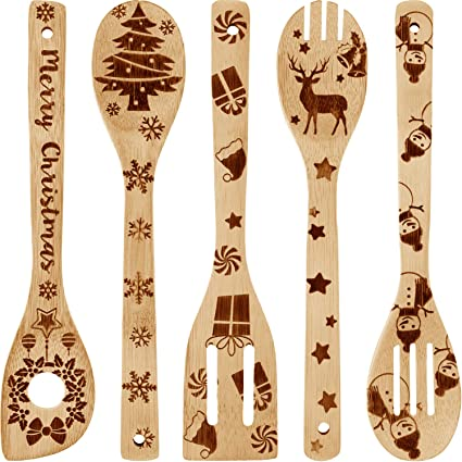 red an white wooden spoon christmas table decoration Christmas cutlery Wooden spoons with red and white stripes christmas wood spoon