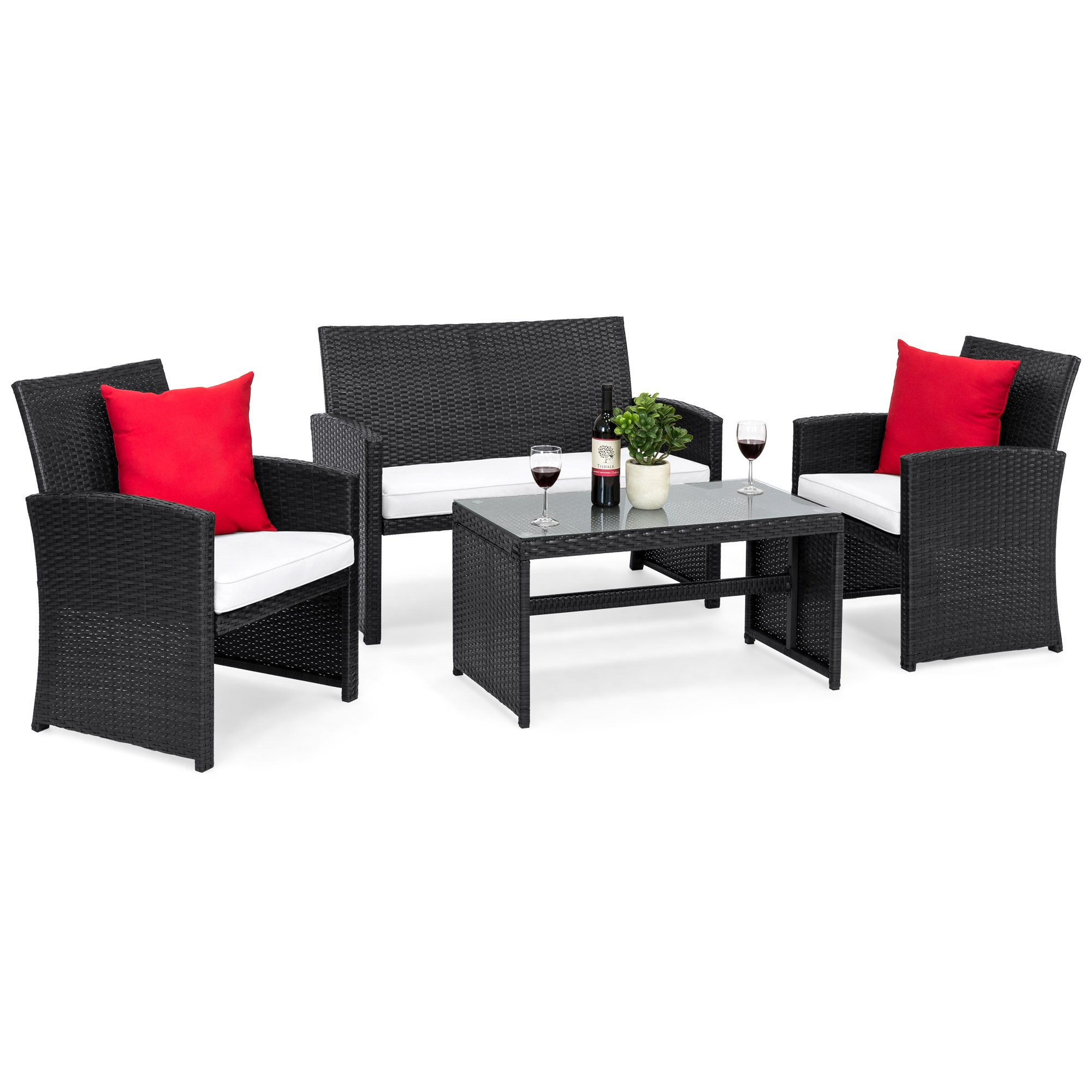 Best Choice Products 4-Piece Wicker Patio Furniture Set w/Tempered Glass, 3 Sofas, Table, Cushioned Seats - Black