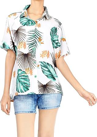 HAPPY BAY Camisa más el tamaño de Las Hojas de Las Mujeres Blusa de Playa botón Impresa hacia Arriba Aloha: Amazon.es: Ropa y accesorios