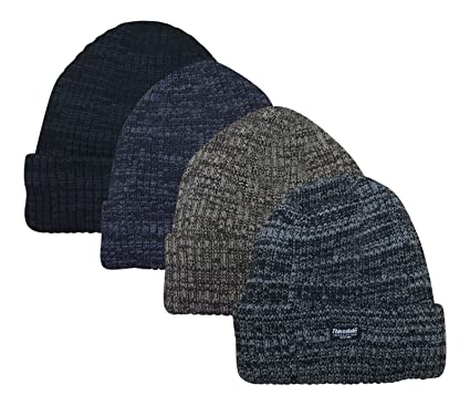 Mens Knitted Hat Thinsulate Warm Winter Wooly Outdoor Chunky Thermal Beanie  Ski (CHARCOAL) 481de2387000