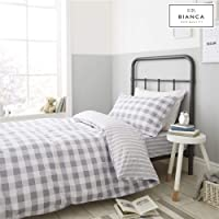 Bianca Check and Stripe Cotton Print Double Duvet Set Grey