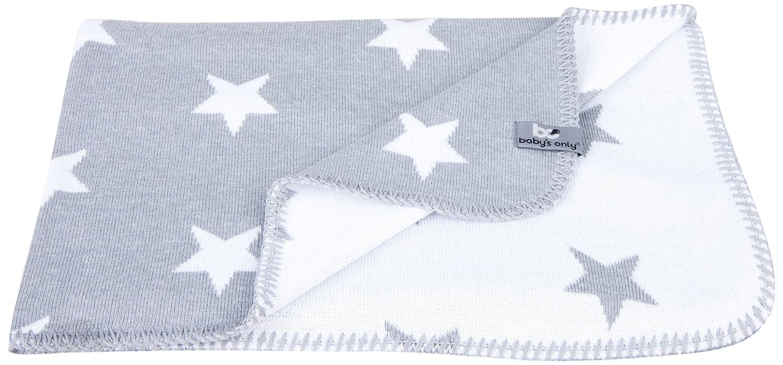 Kinderdecke Strickdecke Sterne 135 x 100 cm, Grau Weiss