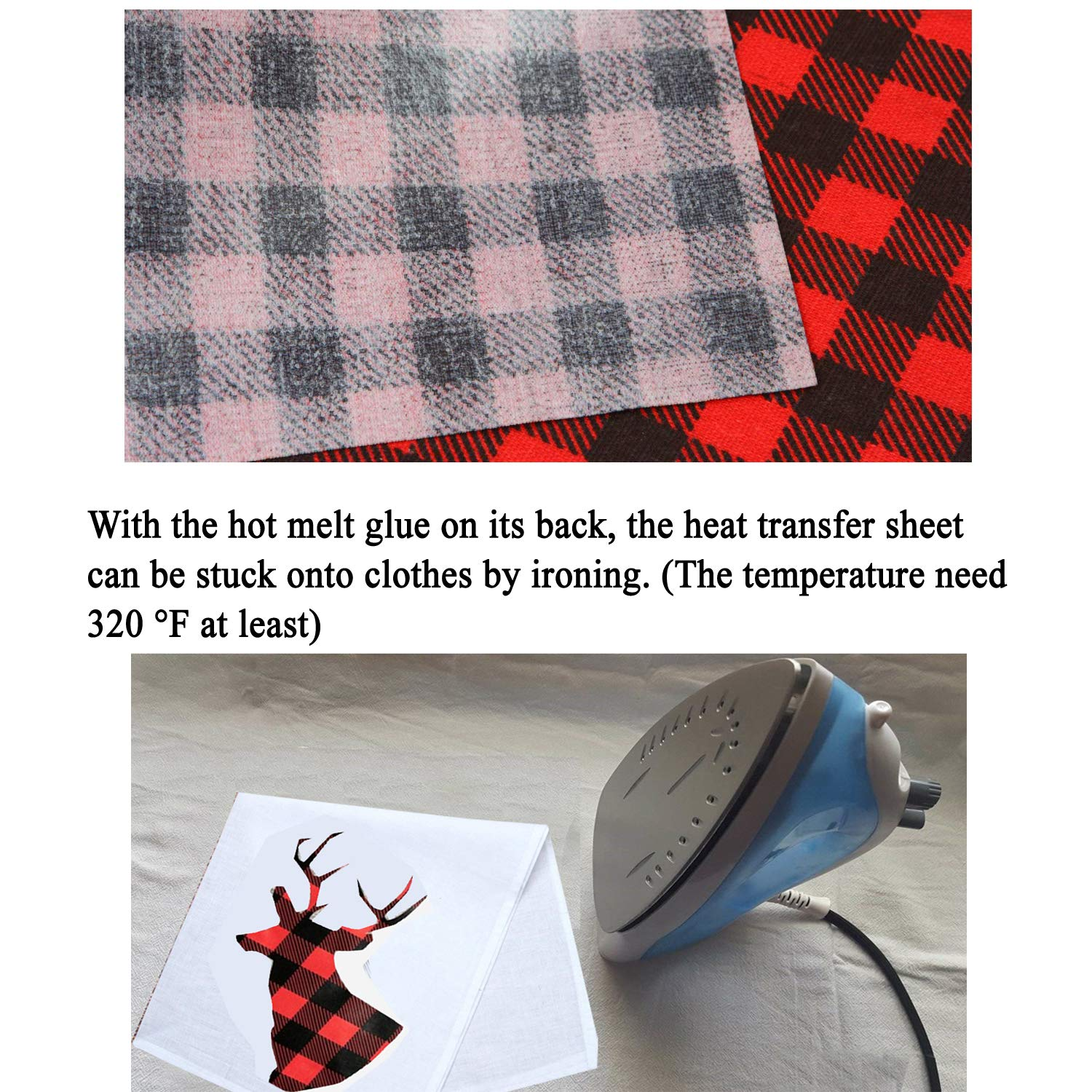 6 Sheets 12/×12 Inch Cloth Fabric Iron-on Buffalo Plaid Sheet 3 Colors Classic Plaid Adhesive Thermal Transfer Heat Transfer Cloth Sheets
