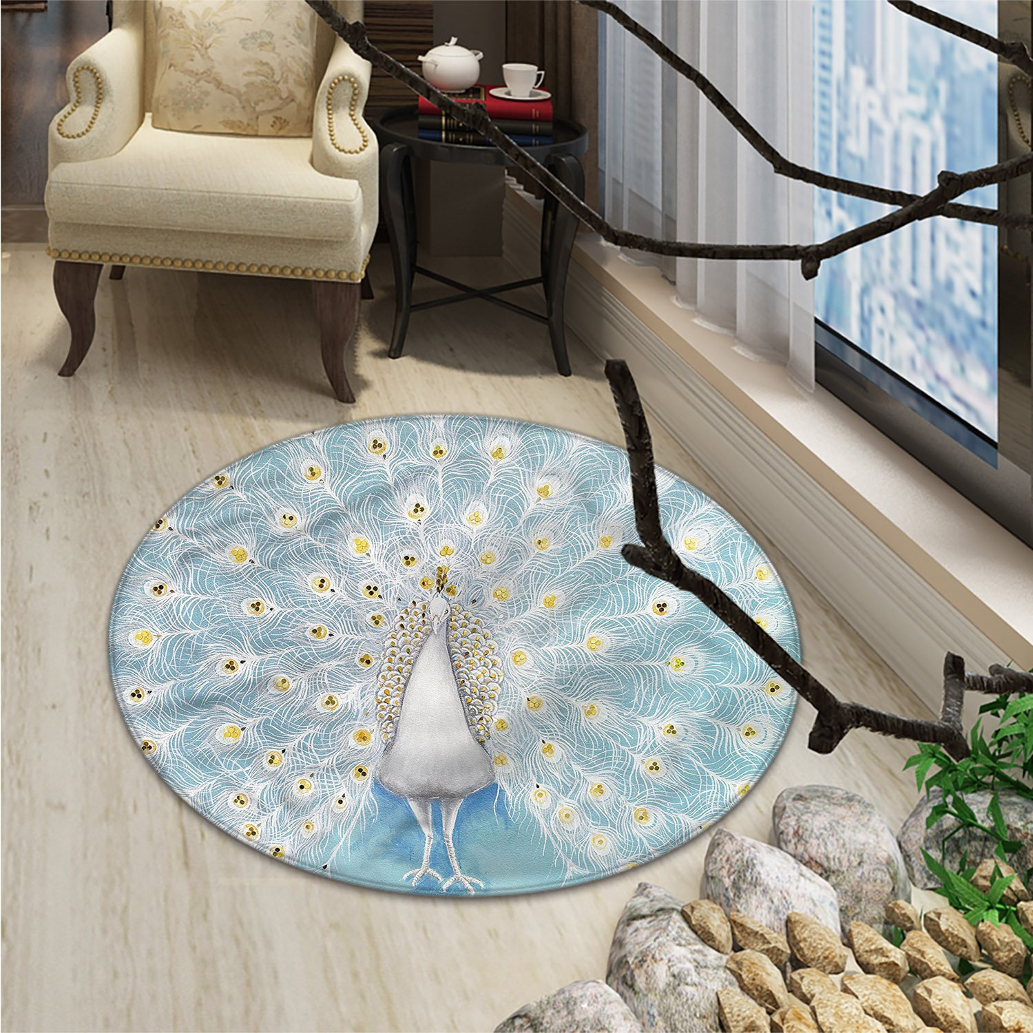 Peacock Round Rugs for Bedroom Peacock Pattern on the Wall Nature Colorful Stylish Ornate Artwork PrintOriental Floor and Carpets Yellow Pale Blue