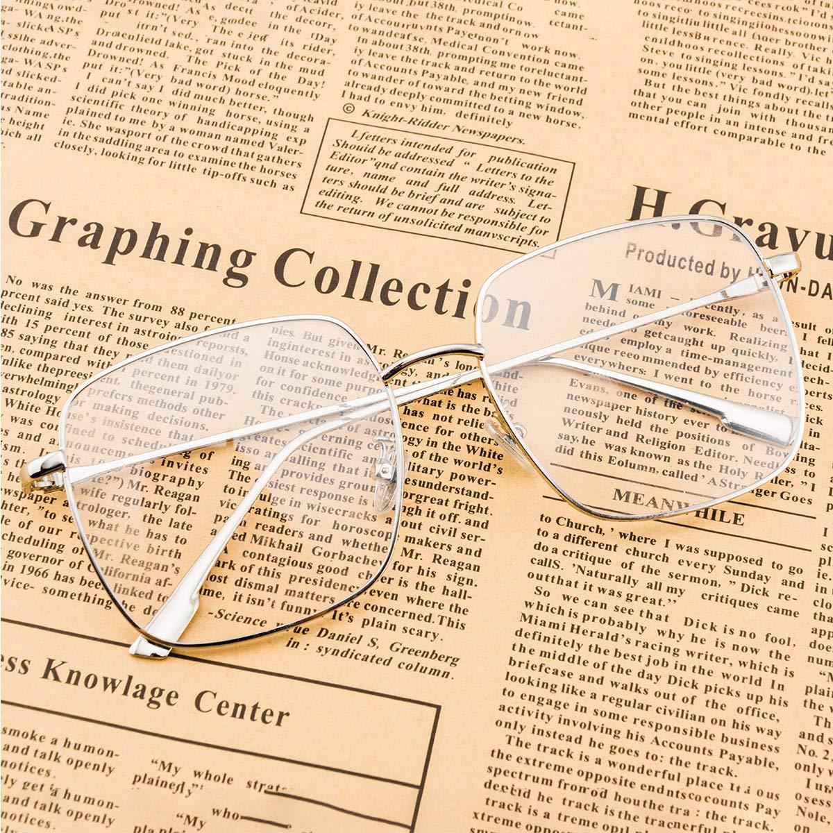 RTBOFY Blue Light Blocking Glasses Women Square Nerd Computer Glasses Oversized Eyeglasses Metal Frame Men
