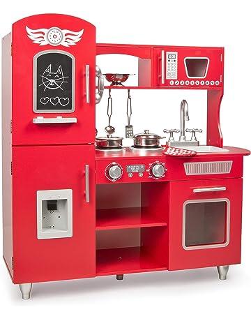 Leomark Grande Rojo Cocina Madera Infantil Cocina De Juguete Accesorios para Niñas Cocinita Retro Grifo Fregadero