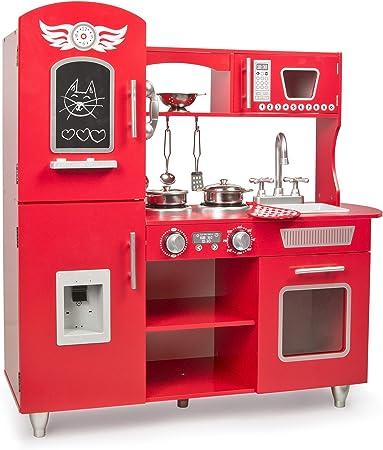 Leomark Big Red Grande Cocina Madera Infantil De Juguete - Color Rojo - Accesorios, para Niños, Cocinita con teléfono, nevera, microondas, utensilios ...