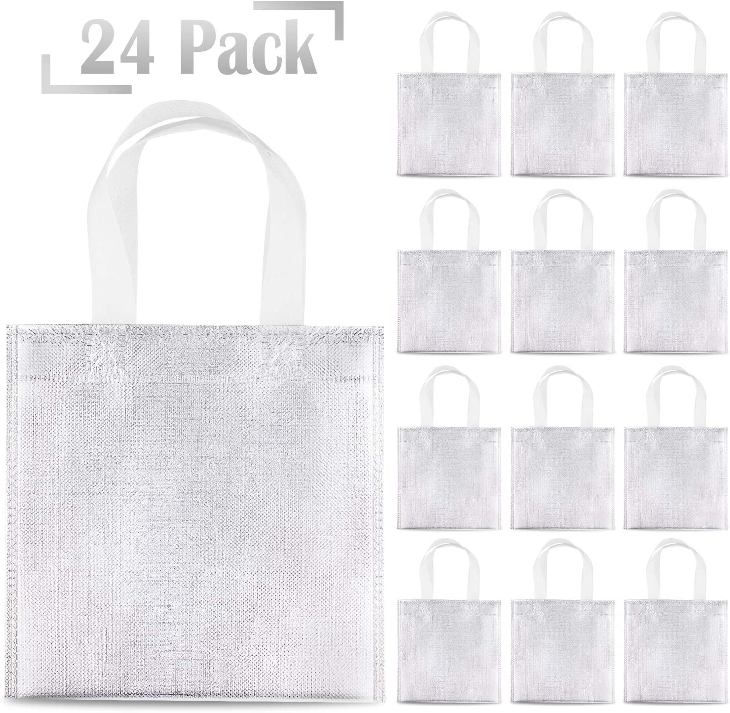 Whaline 24 Pieces 8x8 Non-Woven Small Party Bags DIY Craft Bags for Event Birthday Golden Gift Bags Reusable candy Goodie Bags,Flag bag Glossy Tote Bags
