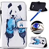 Samsung Galaxy A5 2017 Leather Case,Samsung Galaxy A5 2017 Wallet Case, Etsue Cute Colorful Pattern Style Flip Leather Wallet Case Cover Retro Strap Lanyard Design Bookstyle Card Slots Flip Protective Magnetic Cover for Samsung Galaxy A5 2017+Blue Stylus Pen+Bling Glitter Diamond Dust Plug(Colors Random)-Cute White Panda
