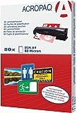 Acropaq Pack de 80 Pochettes de plastification A4 80 microns Transparent