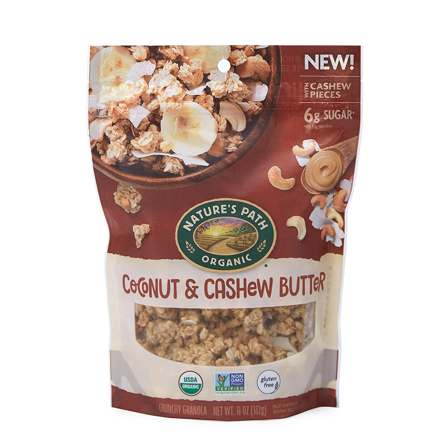 Nature's Path Organic Gluten Free Granola Cereal, Coconut & Cashew Butter, 11 Ounce Bag