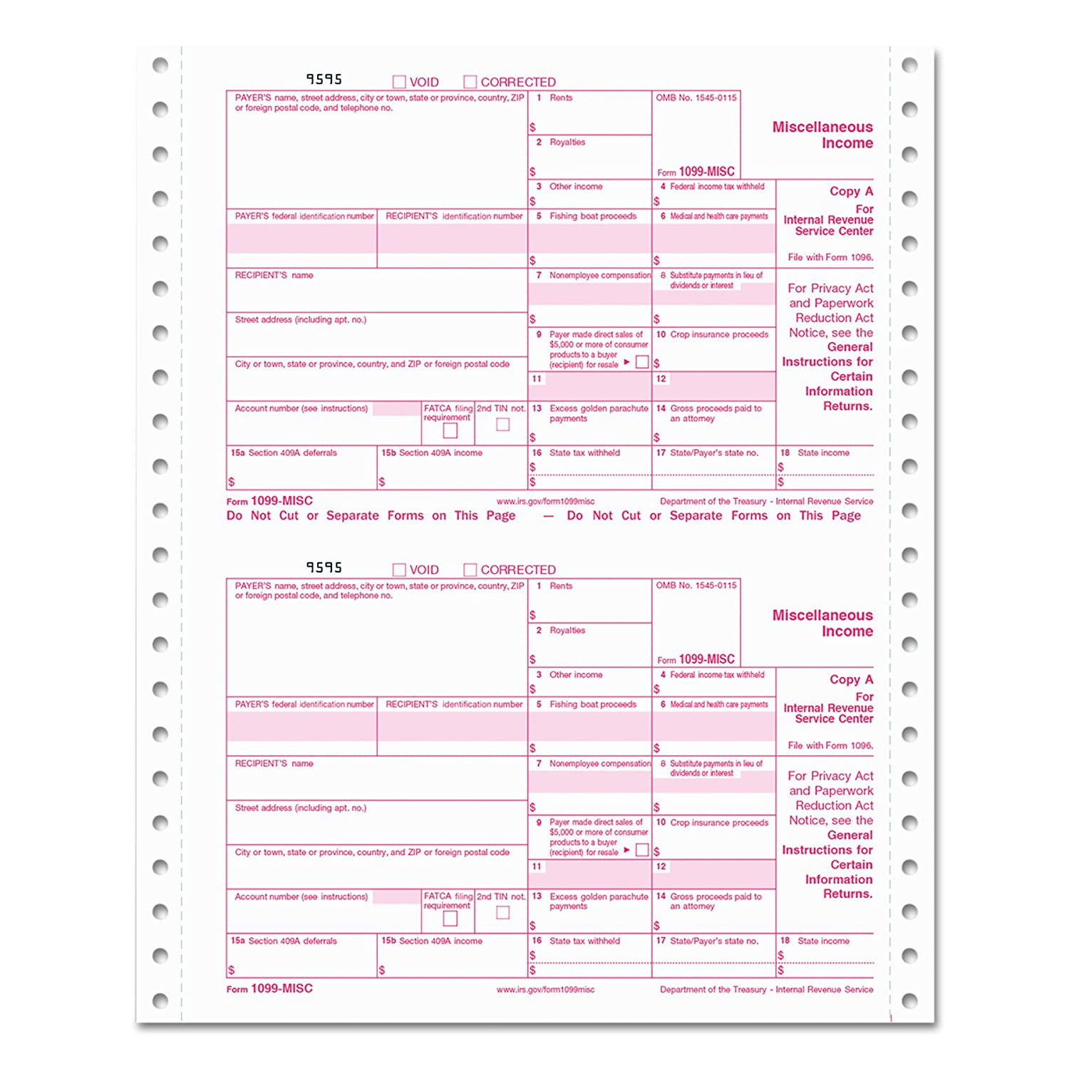 Amazon tops 22995 1099 misc tax forms 5 part carbonless 5 amazon tops 22995 1099 misc tax forms 5 part carbonless 5 12 x 8 24 1099s 1 1096 irs forms office products falaconquin