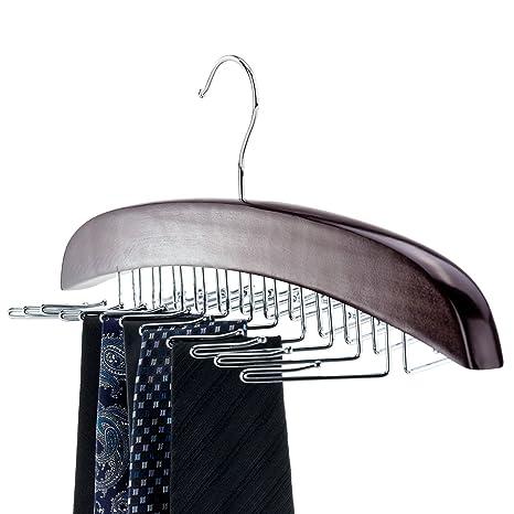 Hangerworld - Percha de madera para 24 corbatas, caoba