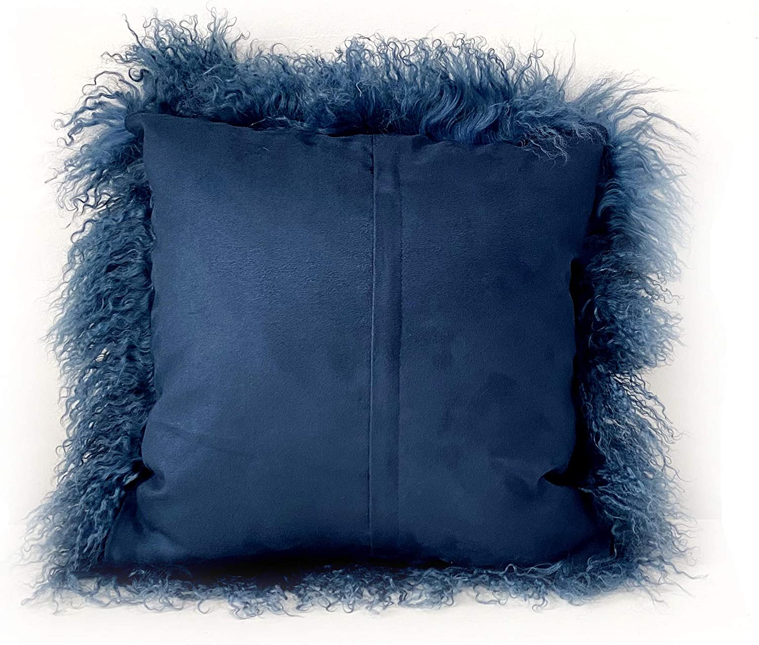 Kumiq 100 Real Mongolian Lamb Fur Curly Wool Pillow Cushion Home Decorative Sheepskin Throw Pillow With Insert Included 16x16in Blue Kitchen Dining Amazon Com