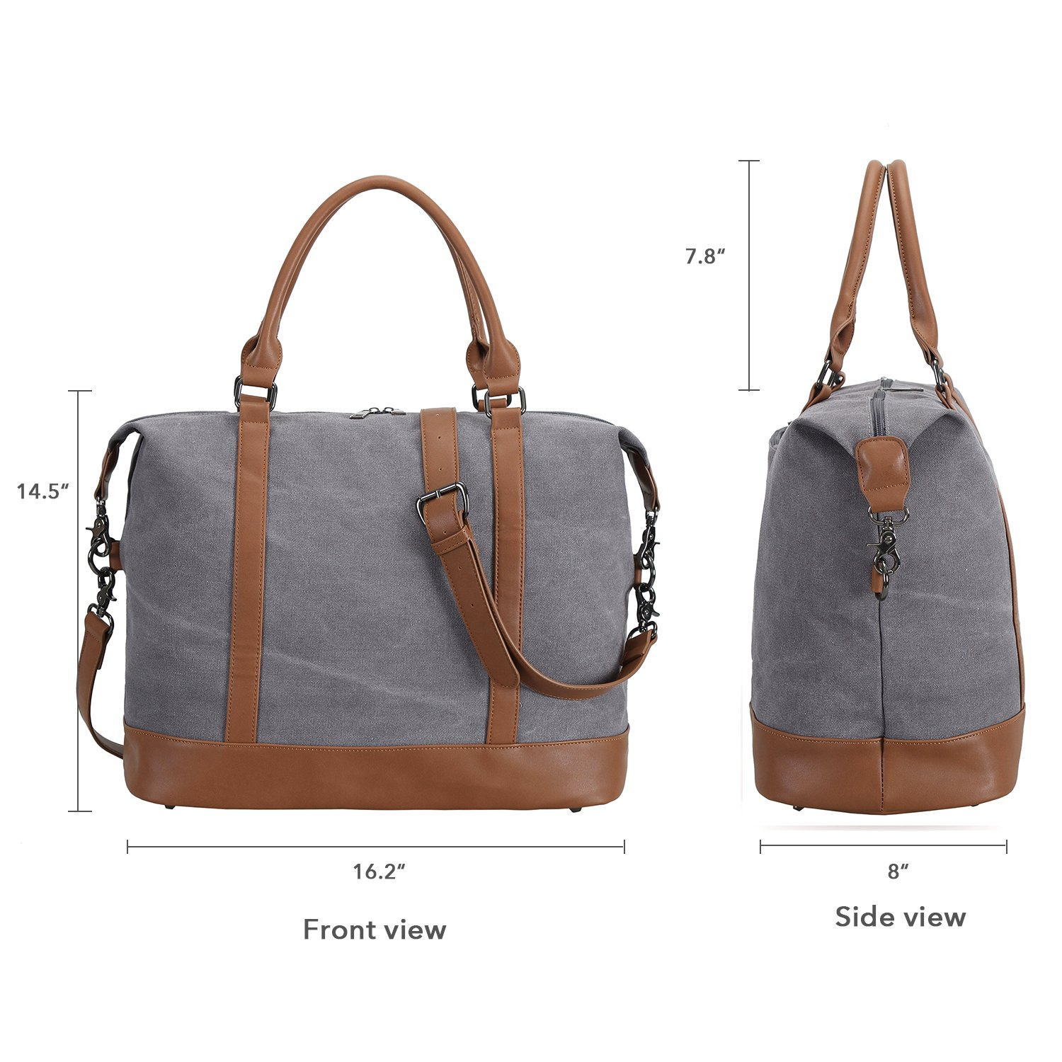 930c754d812 Amazon.com   Women Ladies Canvas Weekender Bag Overnight Carry-on Tote  Duffel in Trolley Handle (Grey)   Carry-Ons
