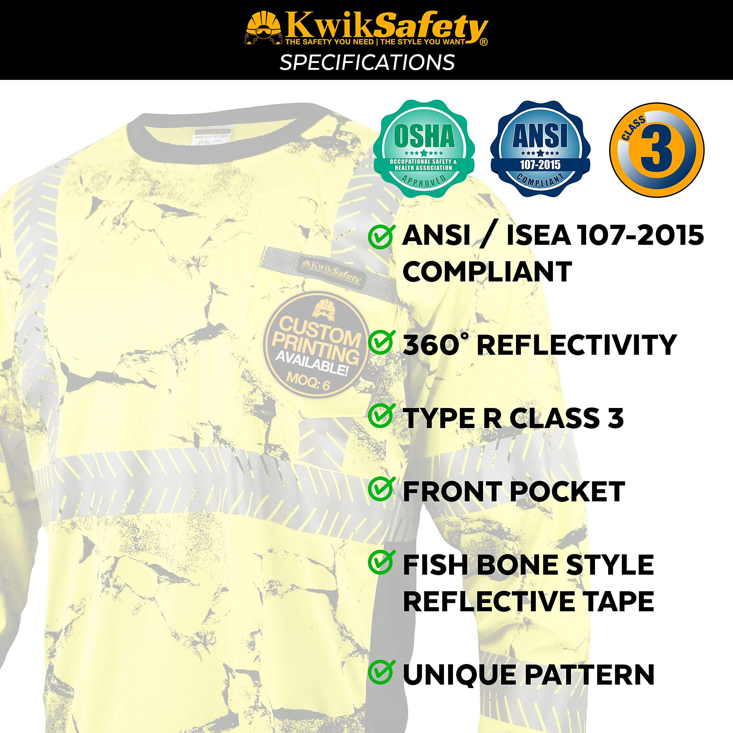 KwikSafety (Charlotte, NC) UNCLE WILLY'S WALL (Chest Pocket) Class 3 ANSI High Visibility Safety Shirt Fishbone Reflective Tape Construction Hi Vis Clothing Men Long Sleeve Camo Yellow Black 2XL by KwikSafety (Image #6)