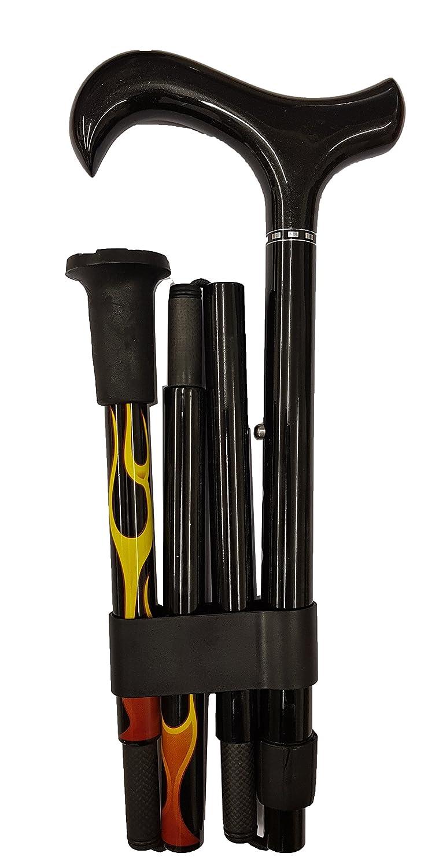 Bast/ón plegable de fibra de carbono con un rojo llama patr/ón