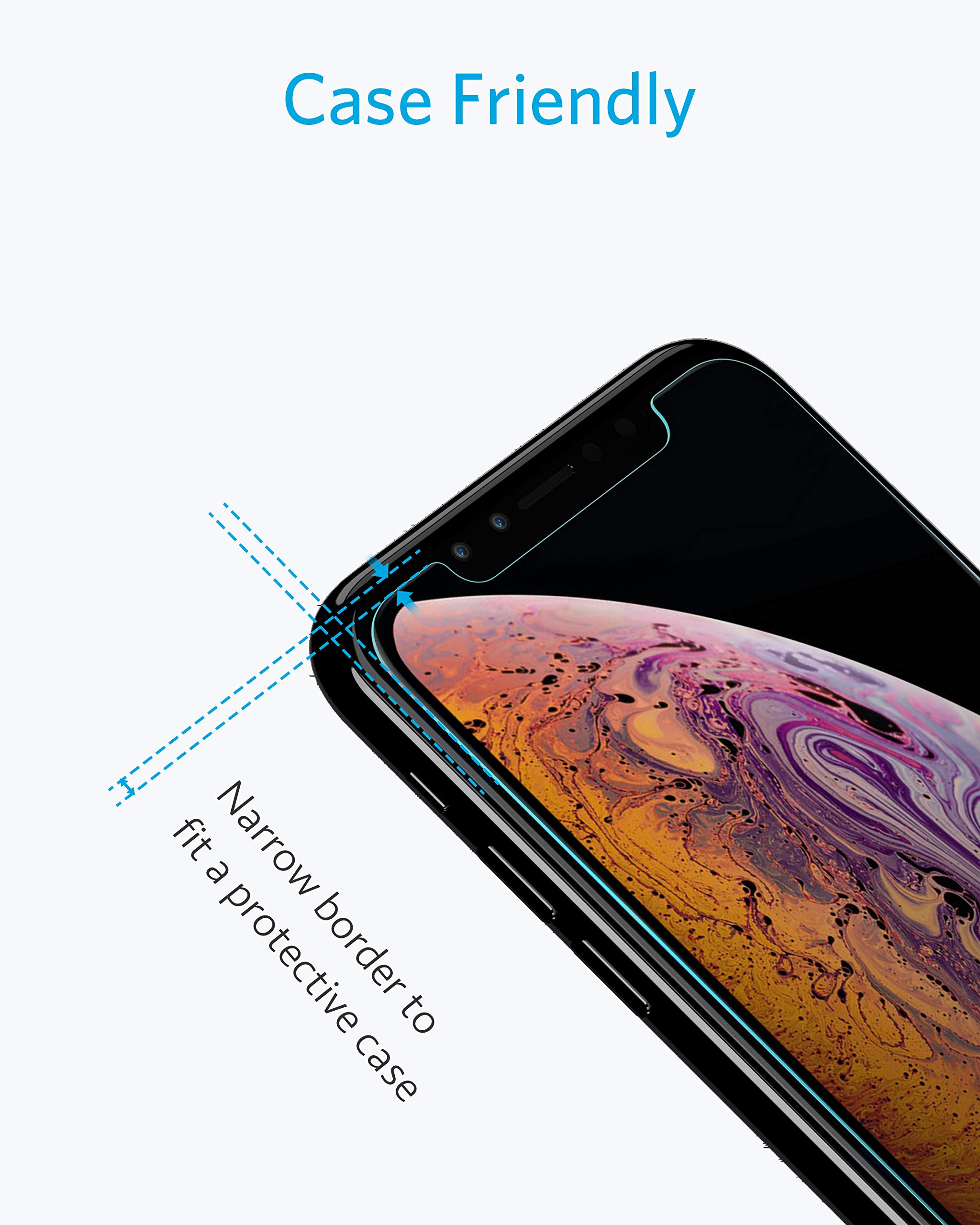 [2 PACK] Anker iPhone X Screen Protector for Apple iPhone X/10 (2017) with DoubleDefence Technology, Tempered Glass, and Alignment Frame for Apple iPhone 10 [Case Friendly]