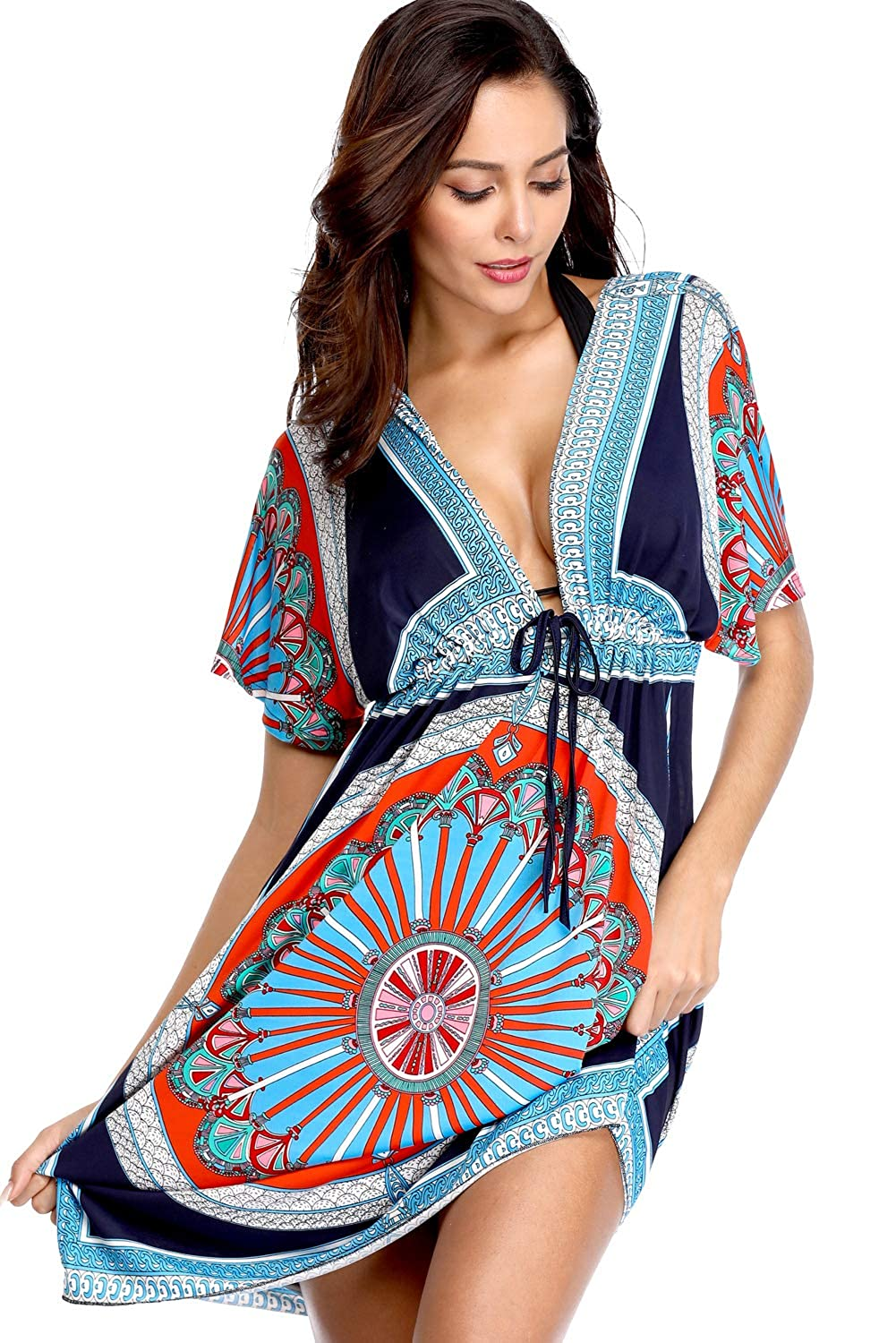 Women Womens VNeck Cut Loose Bathing Suit Swimsuit Cover Ups Beach Dress