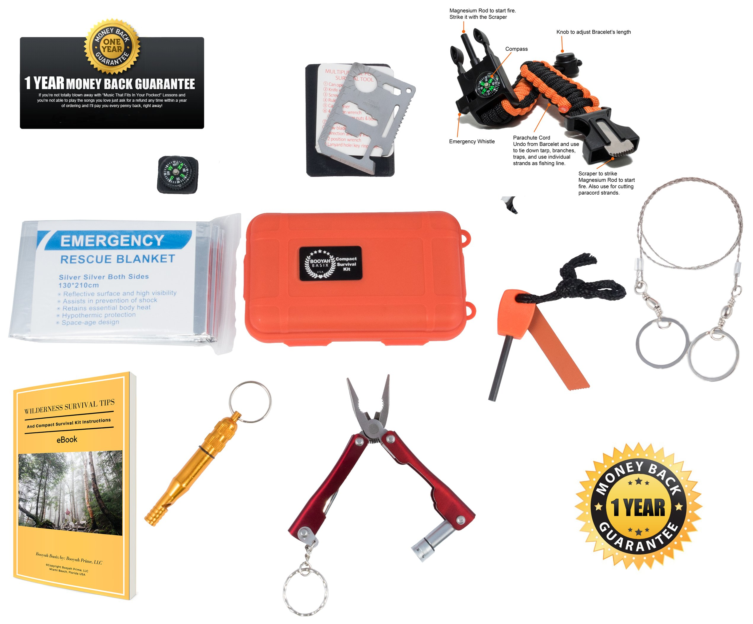 Emergency Survival Kit Bundle.11 Items. Pocket size. Essential Camping Survival Gear, Folding knife, Fire Starter, Compass, Paracord Survival Bracelet, Emergency Blanket, Whistle, Ebook, and more by Booyah Basix (Image #1)
