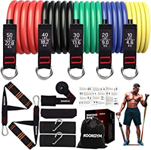 Resistance Bands Set, Exercise Bands with Handles, Tube Fitness Bands with Door Anchor, Ankle Straps for Resistance Training, Physical Therapy, Home Workout, Yoga, Stackable up to 150 lb