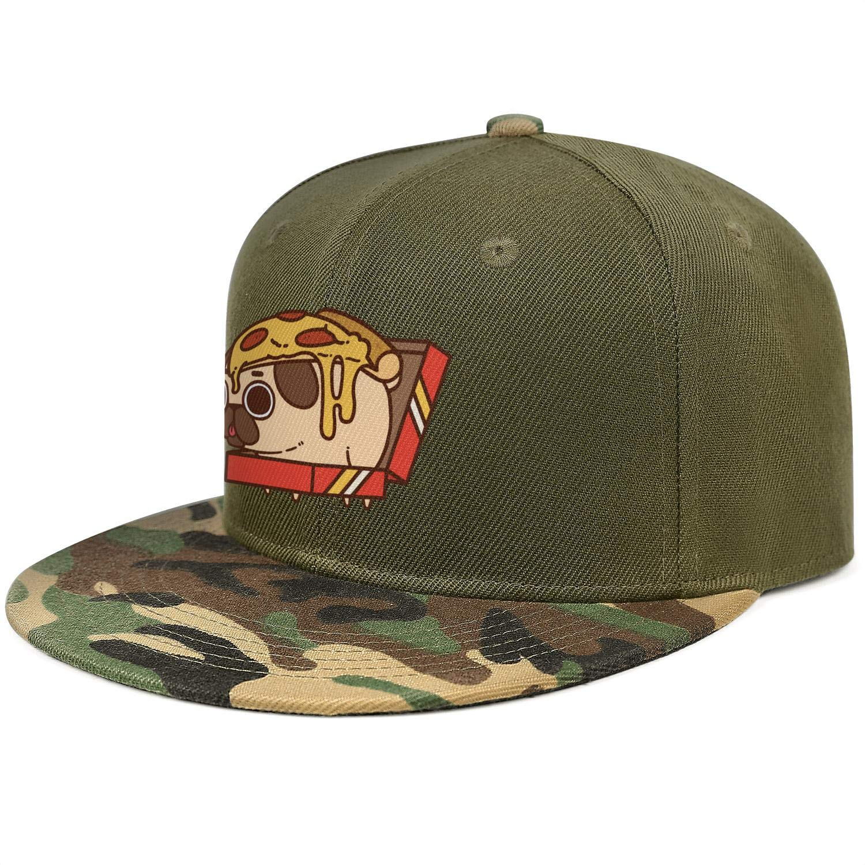 Cute Pizza Pug Dog Unisex Baseball Cap Cooling Sport Baseball Caps Adjustable Trucker Caps Dad-Hat